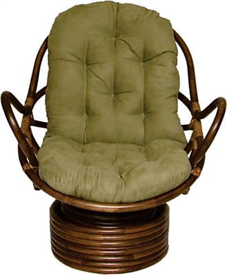 International Caravan Inc Rattan Coil Base Swivel Rocker with Micro Suede Cushion Hunter Green - 3310-MS-HG