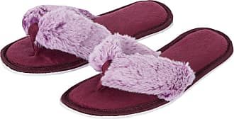 Forever Dreaming Womens Open Toe Memory Foam Faux Fur Indoor Flip Flop Thong Slippers Burgundy-Lilac 5