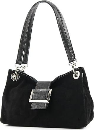 modamoda.de ital. Ladies Handbag Tote Satchel leather bag Suede Small TL02, Colour:black