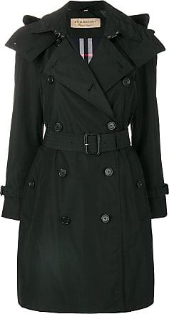 Burberry Detachable Hood Taffeta Trench Coat - Black