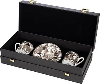 Roberto Cavalli Tropical Jungle Espresso Cup & Saucer Luxury Gift Set - Set of 2 - White