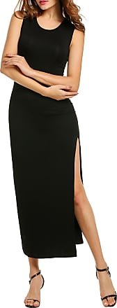 Zeagoo Womens Stretchy Dresses Sleeveless Bodycon Slit Long Party Dress (XL, Black)