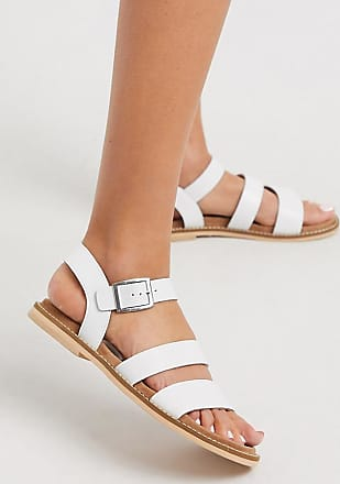 Warehouse multistrap footbed leather sandals in white