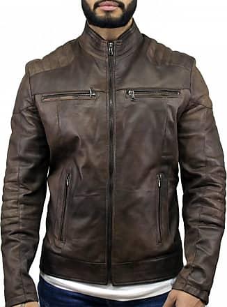 Leather Trend Italy Attila - Giacca Uomo in Vera Pelle colore Testa di Moro Invecchiato