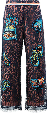 Peter Pilotto lace patch overlay trousers - Preto