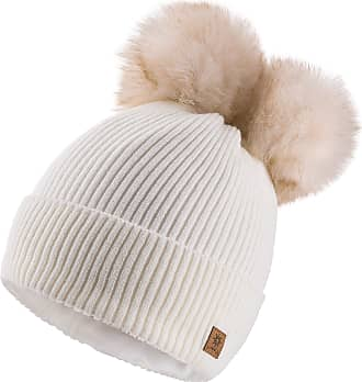 4sold Miki Colour Womens Girls Winter Hat Wool Knitted Beanie with Double Pom Pom Cap Ski Snowboard Bobble (Megi Ecru)
