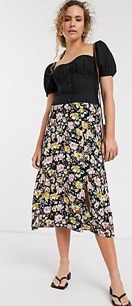 Warehouse floral print split midi skirt in black