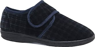 Northwest Territory Diabetic Orthopaedic Mens Easy Close Wide Fitting Strap Shoe Slipper (UL10, Navy Check)