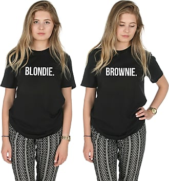 Sanfran Clothing Sanfran - Blondie Brownie Top Funny Matching Besties BFF Heart T-Shirt - Small & Small/Black
