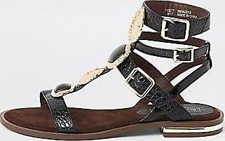 River Island Womens Black gem gladiator sandals