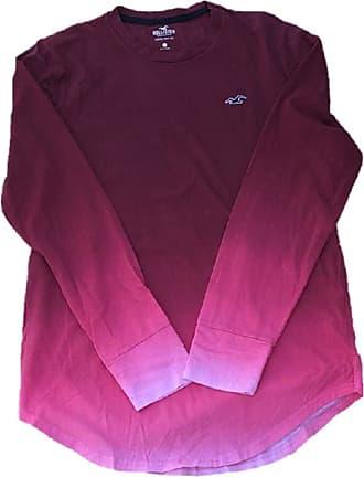Hollister New Crew Neck Curved Hem T-Shirt TEE top Burgundy Pink Ombre Men SZ: Small/S