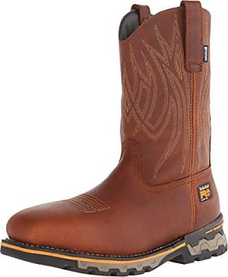 Timberland PRO Mens AG Boss Pull-On Alloy SQ Toe Work and Hunt Boot, Red/Brown Full Grain Leather, 9.5 M US
