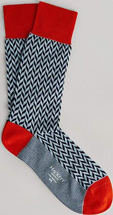 Hackett Herringbone Cotton Socks | Small/Medium | Sky/Orange