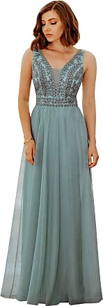 Ever-pretty Womens Double V Neck Embroidery Floor Length A Line Elegant Long Tulle Wedding Guest Dresses Dusty Blue 14UK