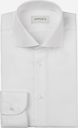 Apposta Camicia tinta unita bianco 100% cotone anti-macchia chevron doppio ritorto oekotex, collo stile francese