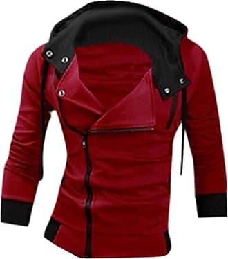 Jeansian Mens Casual Hooded Jacket Slim Fit Outerwear Sweatshirt Tops Coat Zip Sport 8945 Red XL
