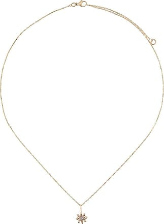Natalie Perry Jewellery Colar de ouro 9k com diamante com pingente floral de diamante - Dourado