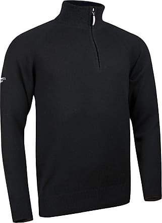 Glenmuir Mens MKO7402ZN Lambswool Blend Zip Neck Golf Sweater-Black-XL - Chest 46-48in