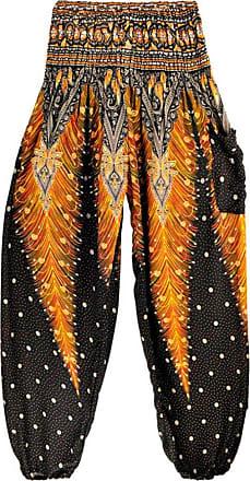 FNKDOR Men Women Thai Harem Loose Close-fitting Breathable Couple Trousers Boho Festival Hippy Smock High Waist Indoor Sport Yoga Pants (Black,Free Size)
