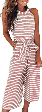 FeelinGirl Womens Striped Jumpsuits High Waisted with Belt All in one Playsuit Pink XL