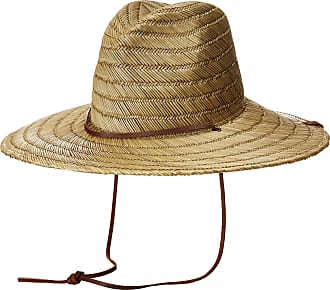 ac87d9da86362d Brixton Mens Bells Extra Wide Brim Straw Fedora Hat Newsie Cap, Tan, One  Size
