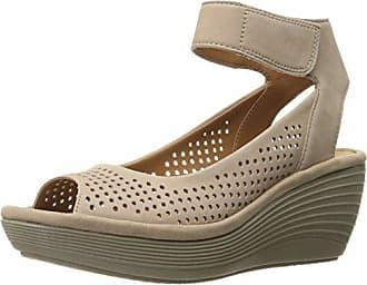 Clarks Womens Reedly Salene Wedge Sandal, Sand Nubuck, 10 W US
