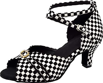 Find Nice Ladies Checks Peep Toe Kitten Heel Beginner Practice Latin Dance Shoes Ballroom Black 3.5 UK