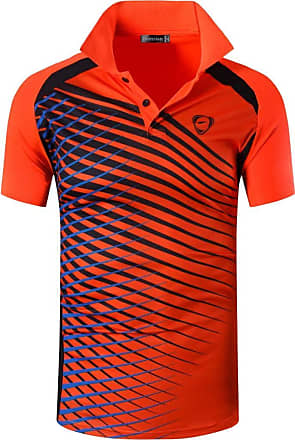 Jeansian Mens Sports Breathable Quick Dry Short Sleeve Striped Polo T-Shirts Tee Tops Running Training LSL243 Orange XL