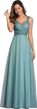 Ever-pretty Womens Elegant V Neck Floor Length Empire Waist A Line Tulle with Glitter Long Wedding Guest Dresses Dusty Blue 16UK