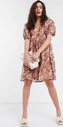 Object organza smock dress with puff sleeves in brown floral-Blue