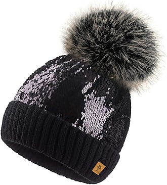 4sold Ladies Womens Sequins Beanie Warm Winter Bobble Faux Fur Pom Pom Wooly Fashion - Black