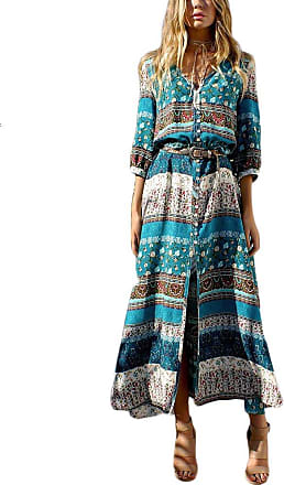 Yonglan Womens Boho V Neck Floral 3/4 Sleeve Side Slip Tie-Waist Long Sleeve Floral Maxi Long Dress Green 1 3XL