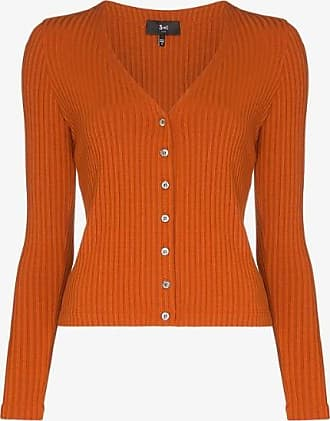 3x1 Womens Orange V-neck Ribbed Cardigan