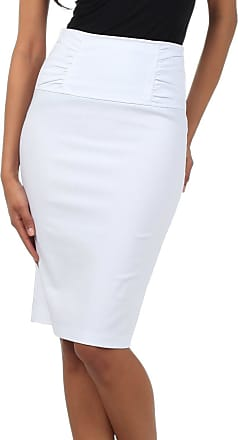 Sakkas IMI-5235 Petite High Waist Stretch Pencil Skirt with Shirred Waist Detail - White/S