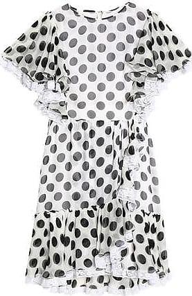 6dfc65d1619da Dolce & Gabbana Dolce & Gabbana Woman Ruffle-trimmed Polka-dot Silk-blend