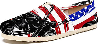 Tizorax Slip on Loafer Shoes for Women Motocycle and American Flag Comfortable Casual Canvas Flat Boat Shoe