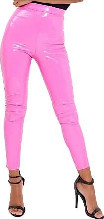 21Fashion Ladies Vinyl PVC Wet Look Disco Leggings Womens Elasticated Waist Shinny Pants Baby Pink M/L UK 12-14