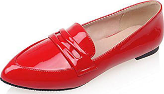 Aisun Damen Oxford Lack Kunstleder Spitz Zehen Loafers Low Top Slip on  Halbschuhe Rot 42 EU 0f6029d970