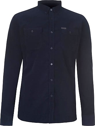 Firetrap Mens Corduroy Shirt Long Sleeve Casual Cotton Button Placket Chest Navy XXL