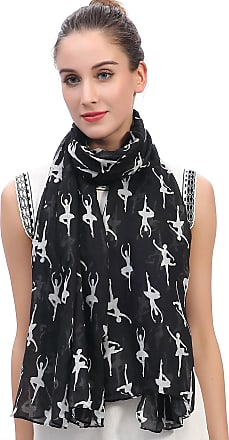 Lina & Lily Ballerinas Dancers Print Womens Large Scarf Lightweight (Black)(Size: 180 X 90 cm)
