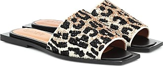 Ganni Leopard-print beaded slides