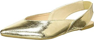 Qupid Womens Pointy Toe Ballerina Ballet Flat, Gold, 7 M US