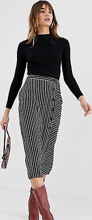 Warehouse midi skirt with button detail in black stripe-Multi