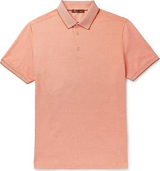 Loro Piana Mélange Cotton-piqué Polo Shirt - Orange
