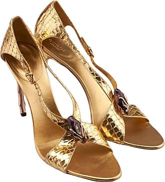 351b1b0f14f Tom Ford New Tom Ford For Gucci S s 2004 Gold Python Jeweled Bamboo Heel