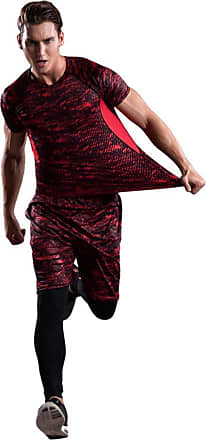 YiJee Mens 3 Pieces Quick Dry Tight Compression Base Layer T-Shirt Shorts Leggings Red XL