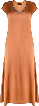 Fabiana Filippi rhinestone neckline silk dress - Brown