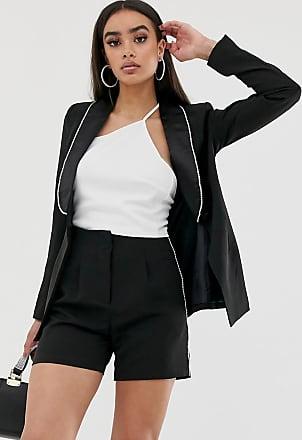 4th & Reckless tuxedo blazer jacket with diamante trim in black