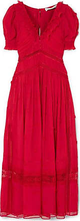 Self Portrait Appliquéd Lace-trimmed Chiffon Dress - Red