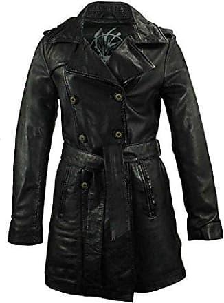 Schwarz Pelzkragen Damen Mode Mantel Kunstleder Gürtel Wintermantel PU Leder Grau Outwear Langarm Ausgestellter SzqMpUV